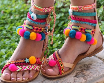 Pom Pom 'Let it Be' Festival Sandals  (handmade to order)