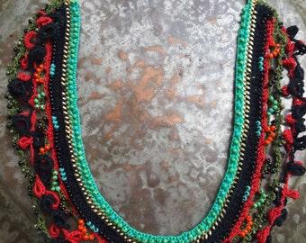 Bohemian Crochet necklace, Boho Crochet necklace, Colorful crochet necklace, Turquoise necklace crochet,