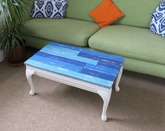 Unique, Coffee table with two secret compartments, shabby chic satin smooth finish, 3 shades of blue & white.