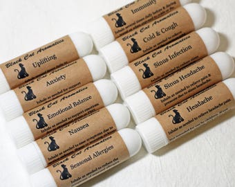 Choose TWO Aromatherapy Nasal Inhalers, Essential Oil Inhaler, Allergy, Anxiety, Balancing, Colds, Headache, Immunity, Nausea, Sinus, Uplift