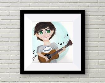 Limited Edition -- Guitar Boy {Gouache Print 8X8}