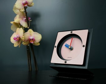 Memphis Design clock 1980s / black & pink Sottsass inspired clock