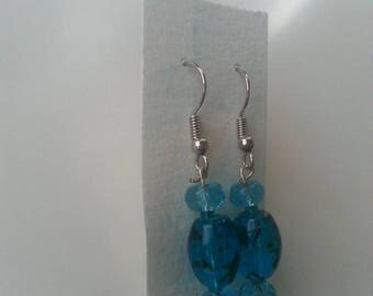 Dangling Blue Bead Earrings