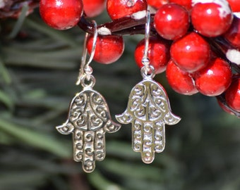 Personalized Christmas Gift - Hamsa Antiqued Sterling Silver Dangle Earrings
