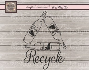 Wine SVG file, Wine recycling humor, Hand drawn Dxf Png Digital cutting file, Wine lover, Kitchen decor, Wine graphic, Vector