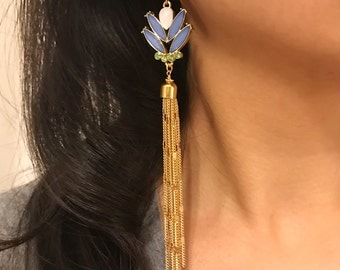 Blue, white and green earrings with gold tassel