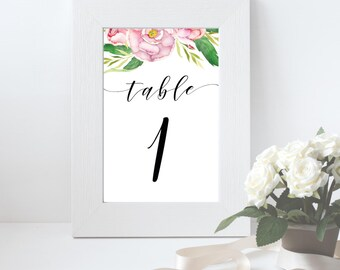 Watercolour Wedding Table numbers, Printed table numbers, Party table decor, Floral table number cards, Wedding table names, Table cards