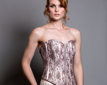 Pale pink Silk Lace up Corset with plum french lace overlay
