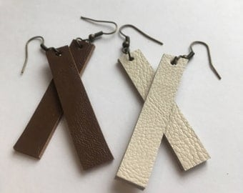 Rectangle Leather Drop Earrings, brown or white, double-sided, Gift for her, Inspired by Joanna Gaines Fixer Upper