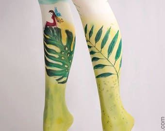 Hand-painted Tights, Monstera, High Fashion, Stockings, Pantyhose, Unique Women Tights, Artwork, Original,Style, Botanical, Nature, Tropical