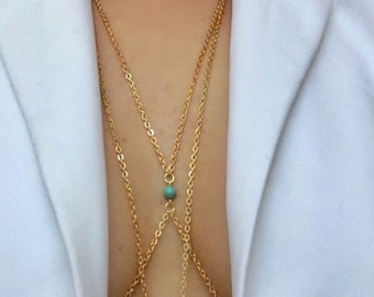 Body chain with turquoise,gold chain with turquoise,something blue,blue details body chain,genuine turquoise beads,blue beads gold chain