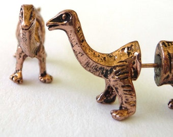 Gold Brontosaurus Dinosaur 3D Stud Earrings