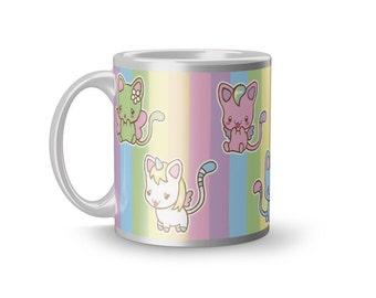 Chibi cat family mug kawaii pop fairy kei rainbow cup kittens cartoon