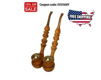 Pipe, Gift Pipe, Wood Pipe, Wood Smoking Pipe, Wooden Smoking Pipe, Smoke Pipe, Unique Pipes, Hobbit Pipe, Pipes Set, Long Pipes, Churchward