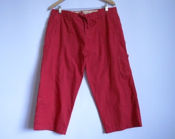 Women's Bright Red Pants/ High Waist Pants/ Jeans Style Pants/ Cotton Trousers Size: 14