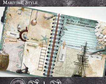 Planner pages in Maritim-design | Printable planner pages | Weekly Planner in staff size and A5