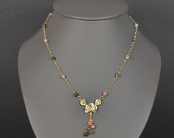 Syce necklace - necklace leaves gold and tourmaline beads