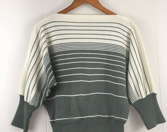 Vintage 80's Crop Striped Knit Sweater Batwing Sleeves