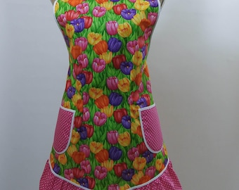 Vintage Style Apron-Bright Blooming Tulips Theme with Pink Accent-Full Coverage-Figure Flattering Design-Ruffle-Lined Pockets-White Trim