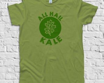Kale Shirt, Vegan Shirt, Vegetarian T Shirt, Summer Shirts, Garden Vegetable Shirt, Farmers Market, Vegan Shirts Women Men, All hail kale