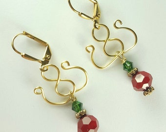 Middle East Inspired red green gold earrings