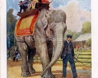 Antique Elephant Lithograph - Vintage Elephant Print from 1950