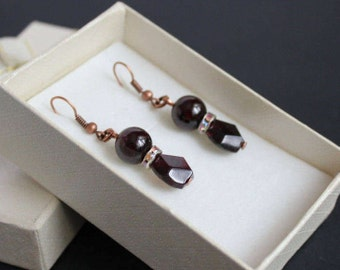 Dangle garnet earrings Dangle copper gem Garnet red earrings Copper gem Gemstone dangle earrings Red wine garnet Dark red earrings Garnet