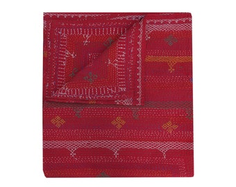 Queen Size Solid Red Color Kantha Quilt Hand Embroidered Kantha Blanket