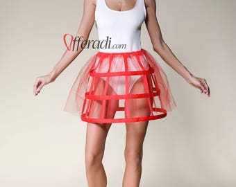 Red Tulle Modern Cage Skirt Festival Fashion