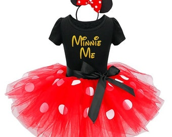 Minnie Me Tutu Dress / Minnie Mouse Birthday Outfit / Minnie Mouse Ears / Minnie Me Shirt