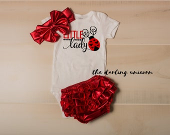 Little Lady infant bodysuit, baby girl bodysuit, newborn coming home outfit, infant outfit, newborn outfit, little lady, lady bug, baby bug