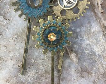 Arabella's Steampunk Trio Hair Pins