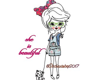 """Cool girls Doodle """"She is beautiful"""" 13x18cm"""