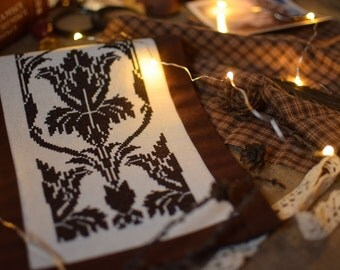 Wallpaper Pattern - instant download modern cross-stitch pattern, Sherlock Holmes, Baker Street, 221B, sherlocked, iris, floral