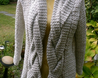 Crochet jacket with braided trim, Gr. 36-38 (S M), grey