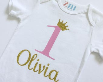 First birthday, one, bodysuit, golden crown,  birthday outfit, cake smash, photo shoot, 1st, glitter, girl boy shirt, T-shirt, personalized