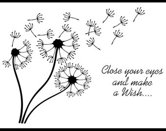 Make A Wish, Dandelion Stencil. Various Sizes. High Quality, 190 Micron Thickness. Flexible. Easy Cleaned And Reusable.