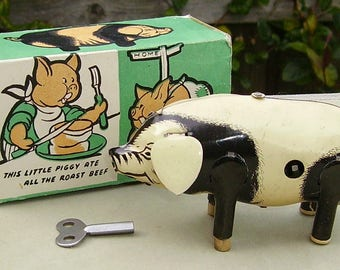 "1950's tin-plate clockwork Pig  ""Porky""  boxed Wells brimtoy tin toy"