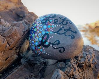 Mandala Sea Stone, Mandala, Meditation Stone, Painted Rock, Beach Stones, Sea Stone, Insperational Stone, Let It Be, Dot Art, Beach Rock