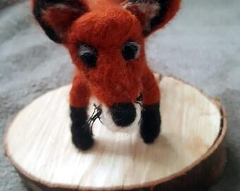 The Red Fox in carded wool felt toy animals, Fox-style felt waldorf, miniature animals, children's gift, gift ideas