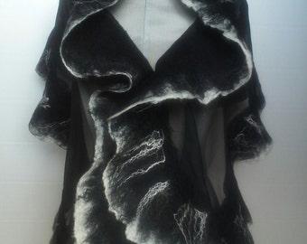Silk and merino wool scarf, nunofeltro scarf, Black Sea