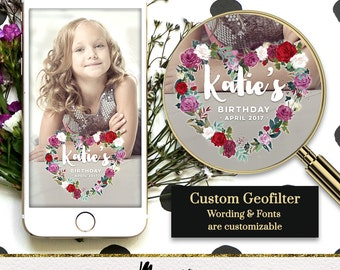 Custom Snapchat Geofilter Flower Crown  Birthday. 2 OPTIONS   Birthday Geofilter, Wedding geofilter, Bachelorette, Sweet 16, Party filter