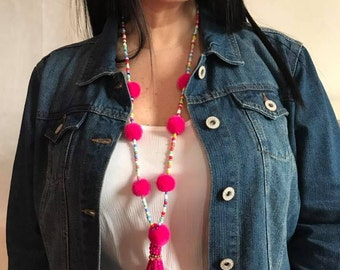 FREE SHIP/ free earing  Bright Colored Pom Pom Necklace with Beads multicolored gift for mom birthday