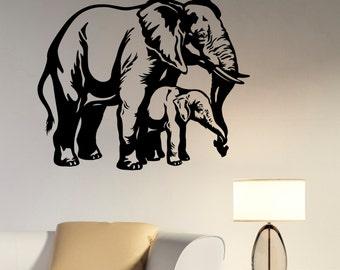 Elephant Family Vinyl Wall Decal Sticker Africa African Wildlife Art Decorations for Home Housewares Dorm Room Bedroom Animal Decor elp4