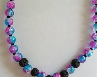 Kids' Diffuser Necklace, Aromatherapy Necklace, Kids' Stretchy Necklace, Kids' Essential Oil Necklace, Galaxy, Purple and Blue, Unisex