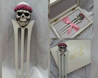 Wooden hair accessories. Hair fork. Wooden hair fork. Gift ideas. Wooden hairpins. Wood hair fork. Hair fork 3 prong. Hair fork Skull.