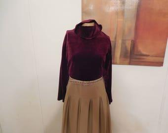 Vintage Maroon/Burgundy Velvet Turtleneck - Minimalist Velvet Turtleneck - Size L