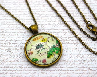 Winnie the Pooh, Hundred Acre Woods Map, Pooh Bear Necklace or Keychain, Keyring