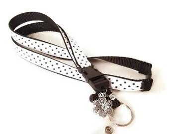 Black & White Lanyard/ID badge holder/Key ring/Lanyard/Lanyard with charms/Teacher gift/ID holder/Handmade/Polka Dot Lanyard/Flower Charm