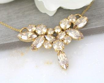 Gold Wedding necklace, Crystal Bridal necklace, Wedding jewelry, Champagne crystal necklace, Bridesmaid jewelry, Swarovski necklace